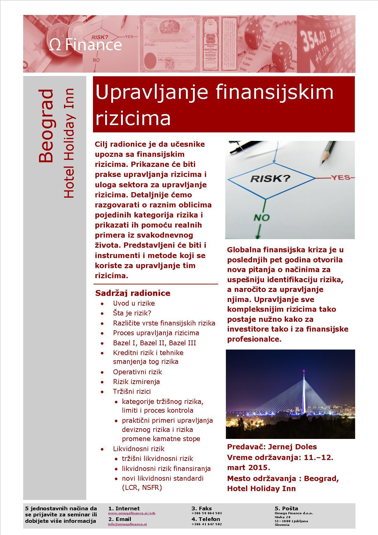Brošura upravljanje finančnih tveganj